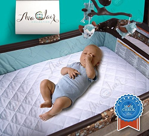 ACC 2-PACK Bamboo PACK N PLAY Mattress Pad Cover Fits MOST Portable & Mini Mattresses. Bonus - 2 Bamboo Changing Pad Liners! Waterproof, Dryer Friendly,! Best Fitted Crib Protector