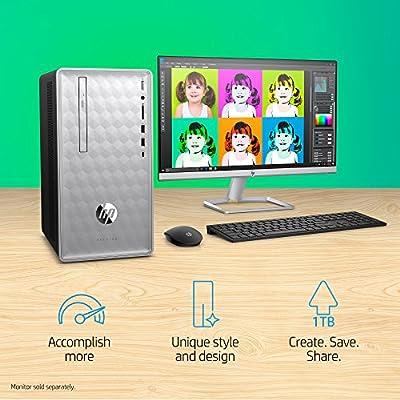 HP Pavilion Desktop Computer, Intel Core i5+8400 Processor, 8GB RAM and 16 GB Intel Optane Memory, 1TB Hard Drive, Windows 10 (Silver), 590-p0050