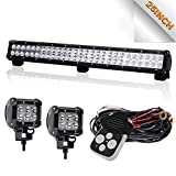 """Led Light Bar TURBOSII DOT 25""""Inch 162W Led Work Light Bar Offroad Driving Lamps Waterproof + 4"""" Led Cubes pod Lights w/Wiring Harness Kit For Truck Jeep Boat SUV ATV 12-24V,1 Year Warranty"""