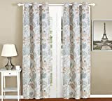 All American Collection New 4pc Floral Printed Blue/White Curtain Set (Curtain Set)