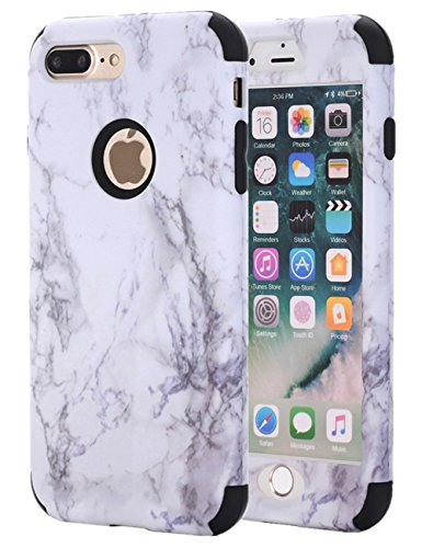 iPhone 7 Plus Case, iPhone 8 Plus Case, KAMII White Marble Stone Pattern Shockproof 2in1 Dual Layer TPU Bumper Hard PC Hybrid Defender Armor Case Cover for Apple iPhone 7 Plus /8 Plus (Zebra Design Protector Case)