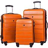 Merax Travelhouse Luggage 3 Piece Expandable Spinner Set Orange