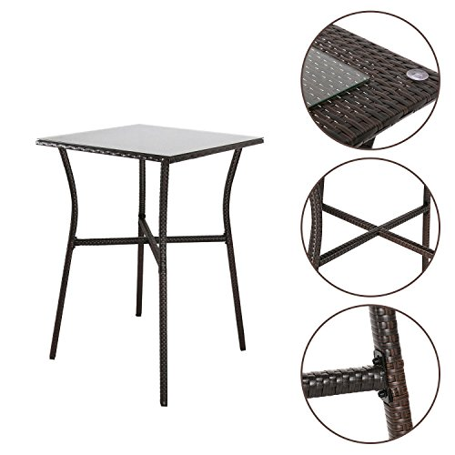 Kinbor Patio Outdoor Wicker Barstool Set Pool Furniture Patio High Chair (Bar Height Bistro Table) by Kinbor (Image #1)