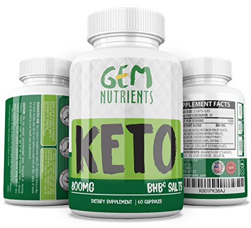 Gem Nutrients Keto Diet Advanced Ketogenic Supplement - 800mg All-Natural BHBc Salts Ketogenic Capsules - GMP-Sealed, Non-GMO Product - Mental Focus and Energy
