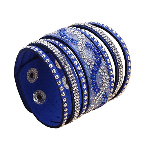 Physn Crystal Leather Bracelets & Bangles Personality Printed Pave Setting Rhinestone Charm Bracelet For Women (Blue)