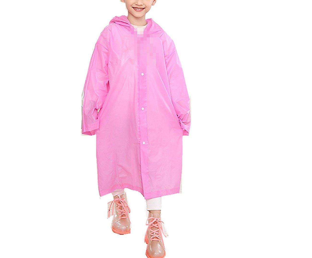 Yiluweinir Age 6~12 Kids Hooded Rain Jacket Raincoat Cover Long Rainwear