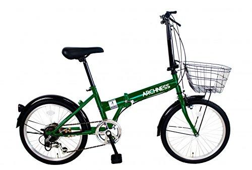 ARCHNESS 206-B 折りたたみ自転車 20インチ カゴ付 シマノ 6段 変速 B01N11DI0S グリーン グリーン