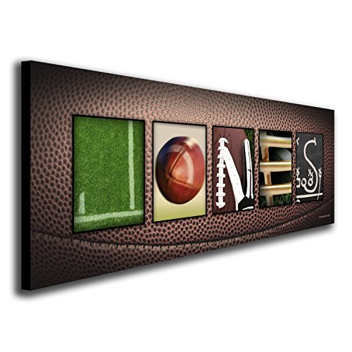 Personalized Football - Block Mount SM - Personalized Football Name Art Decor Print for Man cave, Boys Room, or Office!