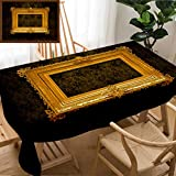 Skocici Unique Custom Design Cotton and Linen Blend Tablecloth Picture Gold Frame with A Decorative PatternTablecovers for Rectangle Tables, 70'' x 52''