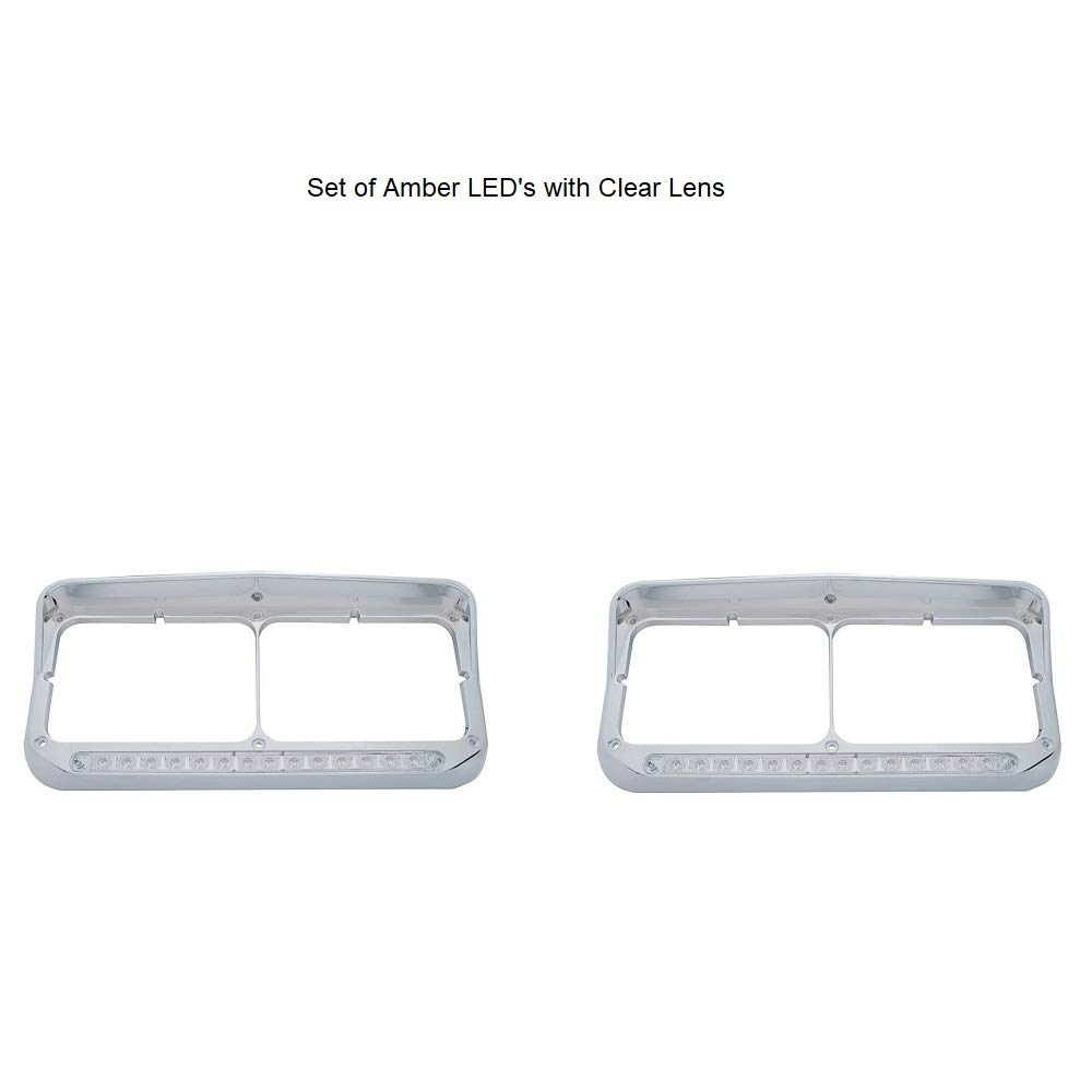Amber LED//Clear Lens 14 LED Dual Headlight Bezel w// Visor
