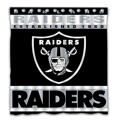 Potteroy Oakland Raiders Team Design Shower Curtain Waterproof Mildew Proof Polyester Fabric 66x72 Inches
