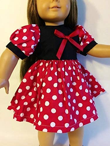 """Fits American Girl and Our Generation Dolls. Minnie Mouse Dress For 18"""" Doll"""