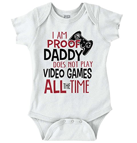 Daddy Onesies - Proof Daddy Play Video Game All Time Cute Baby Clothes Xbox Romper Bodysuit