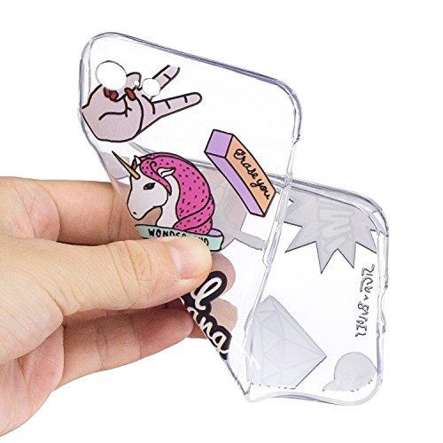 iPhone 7 Hülle , Leiai Modisch Gang gang TPU Transparent Weich Tasche Schutzhülle Silikon Handyhülle Stoßdämpfende Schale Fall Case Shell für Apple iPhone 7