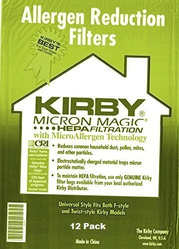 Kirby Part#204808 / 204811 - Genuine Kirby Style F HEPA Filtration Vacuum Bags for Sentria Models (2 Pack of 12 ()