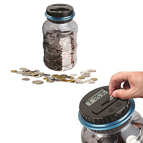OrchidBest Digital Coin Savings Jar LCD Display Coins Counter U.S. Coins Piggy Bank Large Capacity Money Saving Box, Automatically Totals up Your Savings by OrchidBest