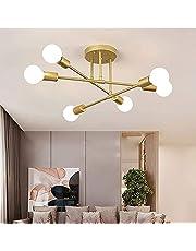 Vintage plafondlamp, 6 lampen retro plafondlamp 6X E27 fitting design moderne kroonluchter metaal industriële plafondverlichting voor woonkamer slaapkamer eetkamer restaurant goud