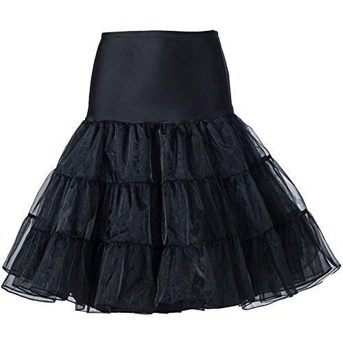 Rockabilly Petticoat Short Slip Crinolina Tutu UnderSkirt Black, Medium (Style Black Short)