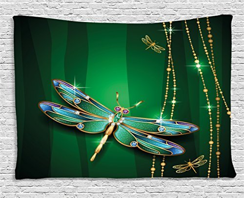Dragonfly Tapestry, Elegance Vivid Figures in Gemstone Crystal Diamond Featured Artsy Effects, Wall Hanging for Bedroom Living Room Dorm, 60 W X 40 L Inches, Gold Hunter Green (Dragonfly Tapestry Wall Hanging)