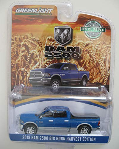 2018 Dodge Ram 2500 Big Horn Pickup Truck New Holland Blue Harvest Edition Hobby Exclusive 1/64 Diecast Model Car by Greenlight 29973