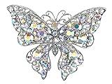 Alilang Aurora Borealis Crystal Rhinestone Silvery Tone Butterfly Brooch Pin