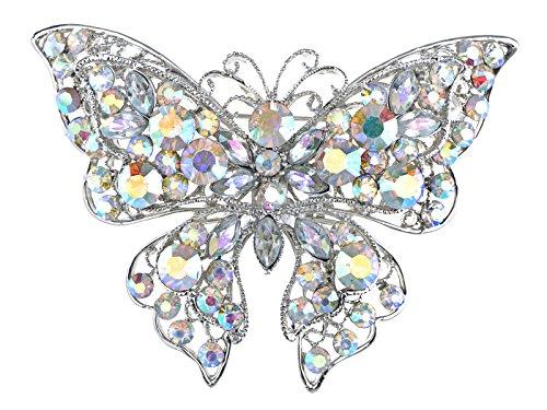 (Alilang Aurora Borealis Crystal Rhinestone Silvery Tone Butterfly Brooch Pin)
