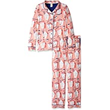 Munki Munki Women's Long-Sleeve Classic Pajama Set with Roll Tab Pant