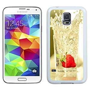 NEW Unique Custom Designed Samsung Galaxy S5 I9600 G900a G900v G900p G900t G900w Phone Case With Strawberry Falling In Glass Of Water_White Phone Case