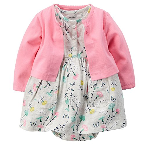 Carter's Baby Girls' 2 Piece Floral Dress Set (Pink/Grey Multi, 24 Months)