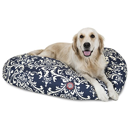 Navy Blue French Quarter Large Round Indoor Outdoor Pet Dog Bed With Removable Washable Cover By Majestic Pet Products ()
