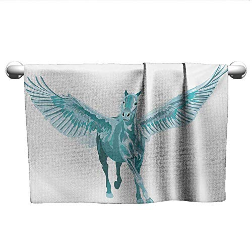 Bensonsve Hand Towel Horse,Artistic Blue Pegasus Horse with Open Wings Fantasy Mystery Myth Flight,Turquoise and White,Hooded Towel for Baby boy
