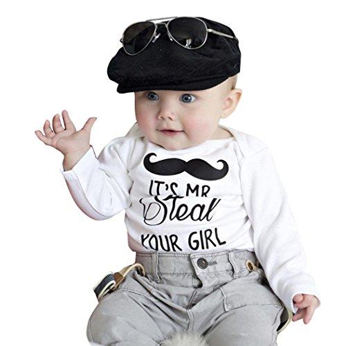 [FEITONG Newborn Baby Boy Moustache Print Long Sleeve Romper Bodysuit Vest T-shirt (12 Months)] (Funny Hats For Sale)