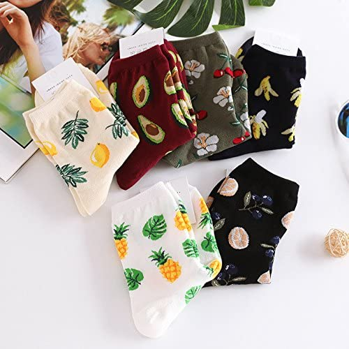 Adult Tropical Fruits Citrus Slices Pattern Cushion Crew Socks