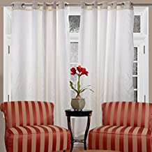 """Solid Color Curtains,2 Panels 90""""X 90"""" Faux Silk Dupioni Solid Textured Lined Grommet Eyelet Ring Top Window Blackout Fully Lined Drapes (Milk white)"""