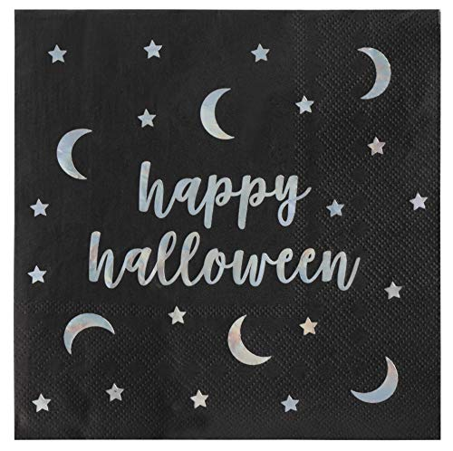 Cocktail Napkins - 50-Pack Luncheon Napkins, Disposable Paper Napkins Halloween Party Supplies, 3-Ply, Happy Halloween in Holographic Foil Design, Unfolded 13.5 x 13.5 Inches, Folded 6.5 x 6.5 Inches]()