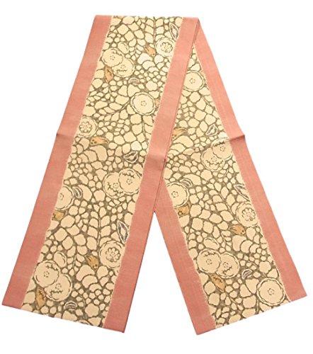 破滅的な最後に散らすリサイクル 名古屋帯 縞に花模様 正絹
