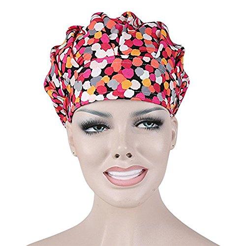 Opromo Bouffant Scrub Hat Sweat Bleach Friendly Banded Hat For Women Ponytail-Polka Dot