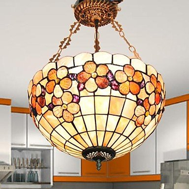 16 Inch Flower Design Shell Material Tiffany Pendant Lamp ()