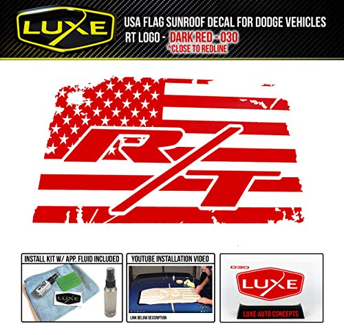 Luxe Auto Concepts USA Flag Sunroof Decal for Dodge Vehicles - R/T Single Color - Dark Red (R/t Single)