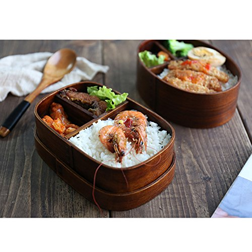 Tuliptown Wooden Lunch Box, Japanese Wooden Lunch Containers ,Bento Boxes with 3 Containers for Kids Girls Boys Adult At School Work (Oval shape) by Tuliptown Mart (Image #3)