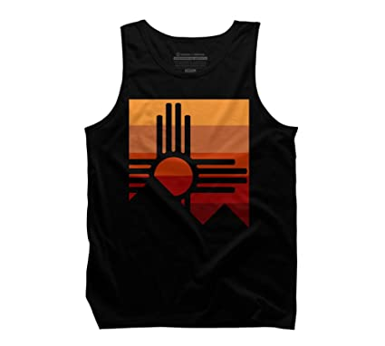 Design By Humans zia sunset mountain abstract Men's Small Black Graphic  Tank Top