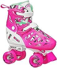 Roller Derby Trac Star Girl's Adjustable Roller Skate, Pink/Mint, Large (