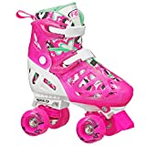 Roller Derby Trac Star Girl's Adjustable Roller Skate, White/Pink, Medium (12-2)