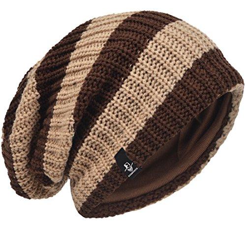 VECRY Men's Slouchy Beanie Knit Crochet Rasta Cap for Summer Winter (Brown/Khaki) (Brown Khaki Beanie)