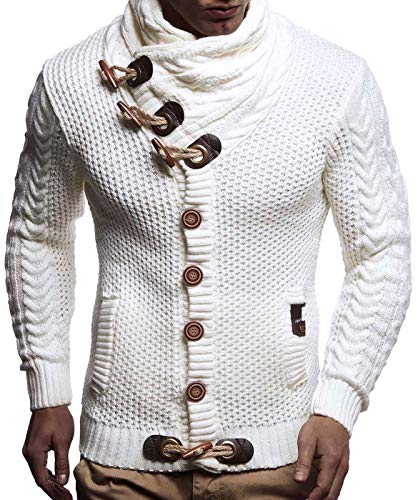 Leif Nelson LN4195 Men's Knitted Turtleneck Cardigan,White,XXX-Large