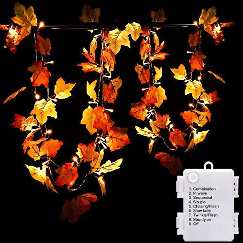 Luditek 14.7ft Thanksgiving Decorations Autumn Garland – Thanksgiving Decor Fall Garland Lights with 40 LED – 8 Blinking Modes -Waterproof