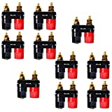 Ellami 20pcs Black and Red Plastic Shell Speaker Terminal Binding Post Power Amplifier Dual 2-way Banana Plug Jack
