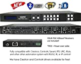 4x8 HDbaseT 4K HDMI 4x4 MATRIX SWITCHER w/ FOUR PoC RECEIVERS (CAT5e or CAT6). HDCP2.2 HDTV ROUTING SELECTOR SPDIF AUDIO CRESTRON CONTROL4 SAVANT HOME AUTOMATION