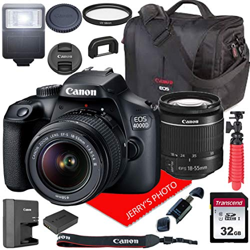 Canon EOS 4000D / Rebel T100 DSLR Camera w/Canon EF-S 18-55mm F/3.5-5.6 III Zoom Lens + Canon Case + 32GB SD Card (15pc Bundle) (Best Entry Level Dslr Camera)