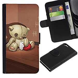 iKiki Tech / Cartera Funda Carcasa - Teddy Bear Sad Lonely Broken Heart Red - Apple iPhone 5 / 5S